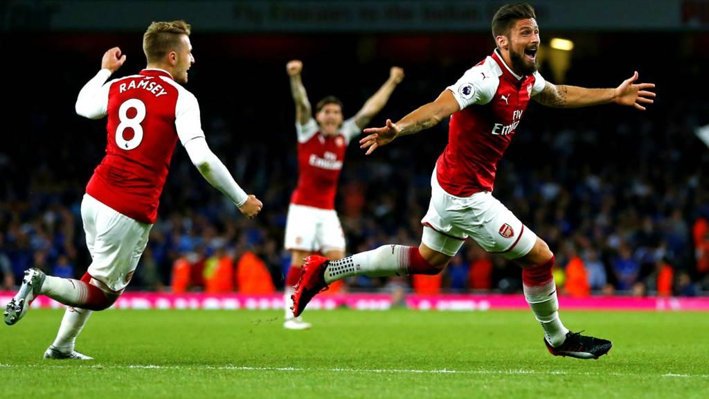 giroud scoring winner for Arsenal against Leicester opening day premier league 2017/18