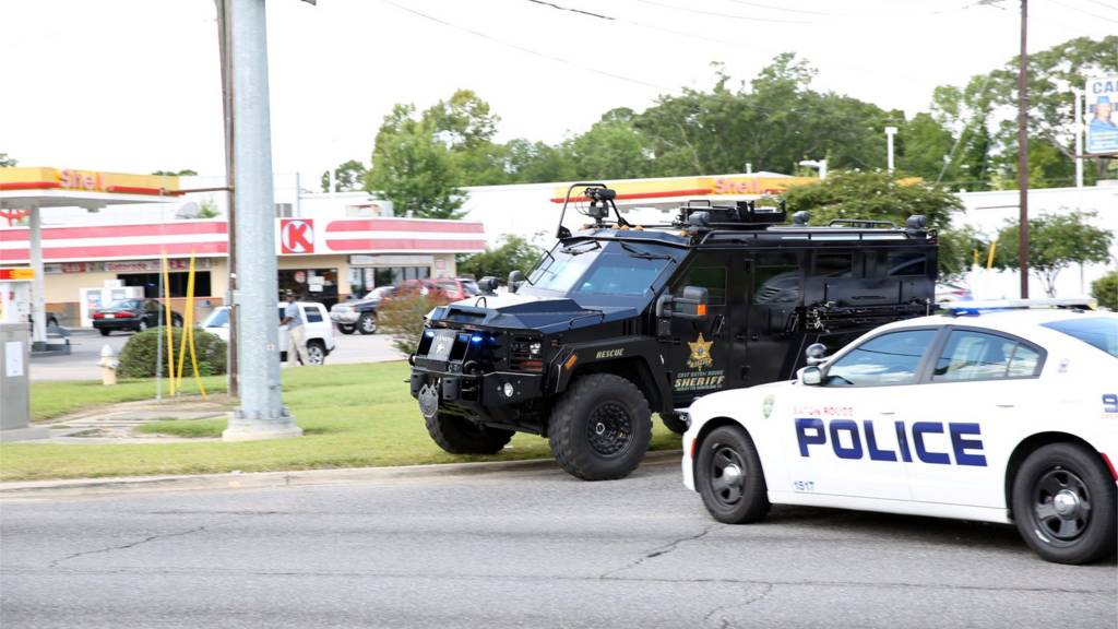 Police vehicles Baton Rouge 17 July 2016