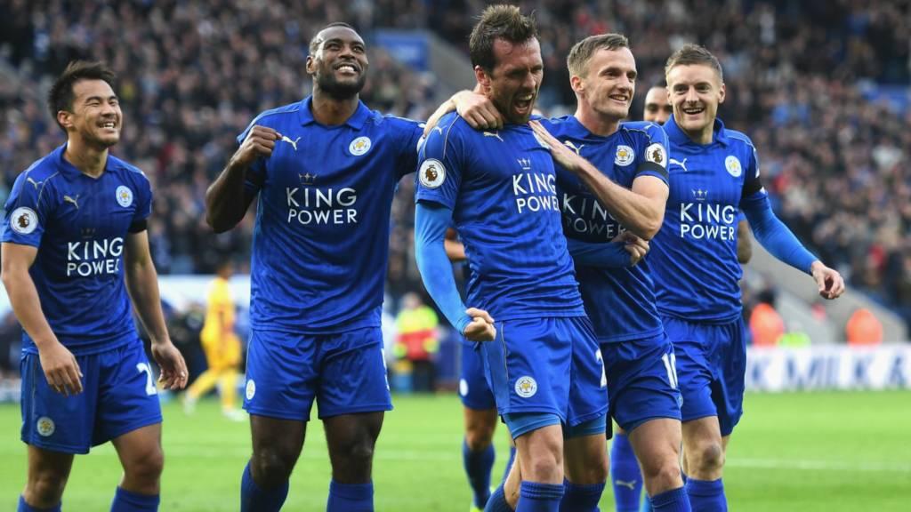 Leicester's Christian Fuchs celebrates