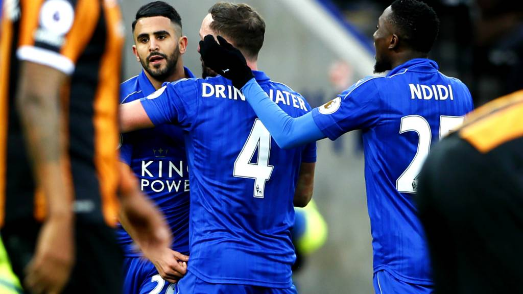 Leicester celebrate their second goal