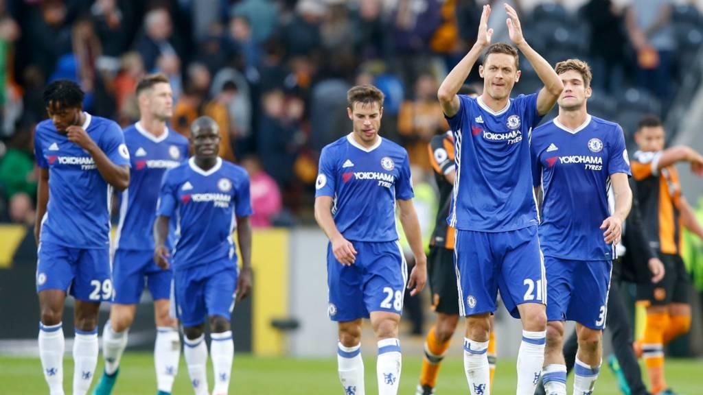 Chelsea celebrate Hull win