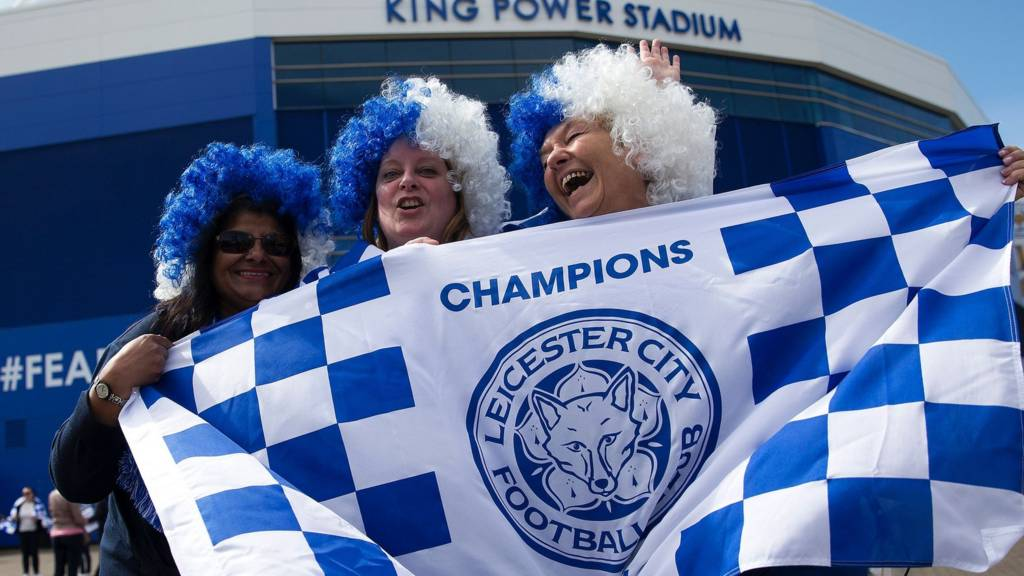 Fans with LCFC banner