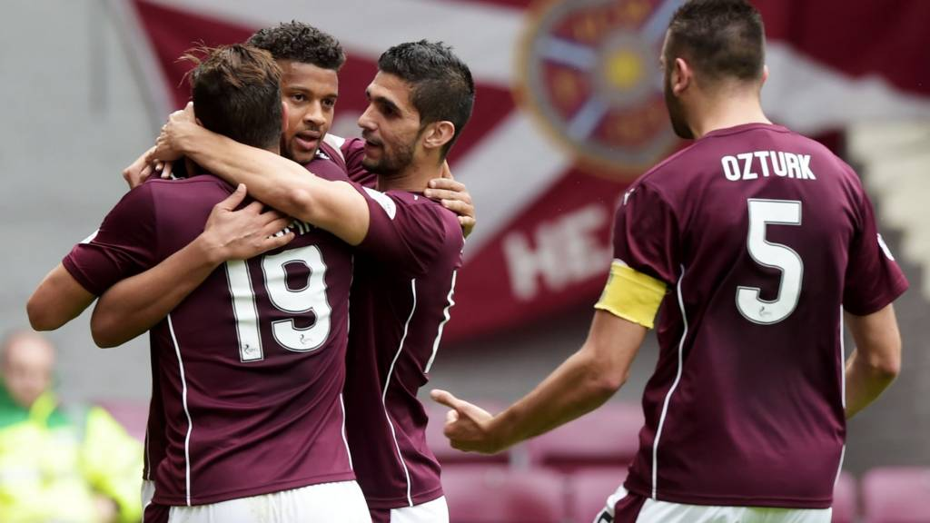 Hearts celebrate their opener at Tynecastle