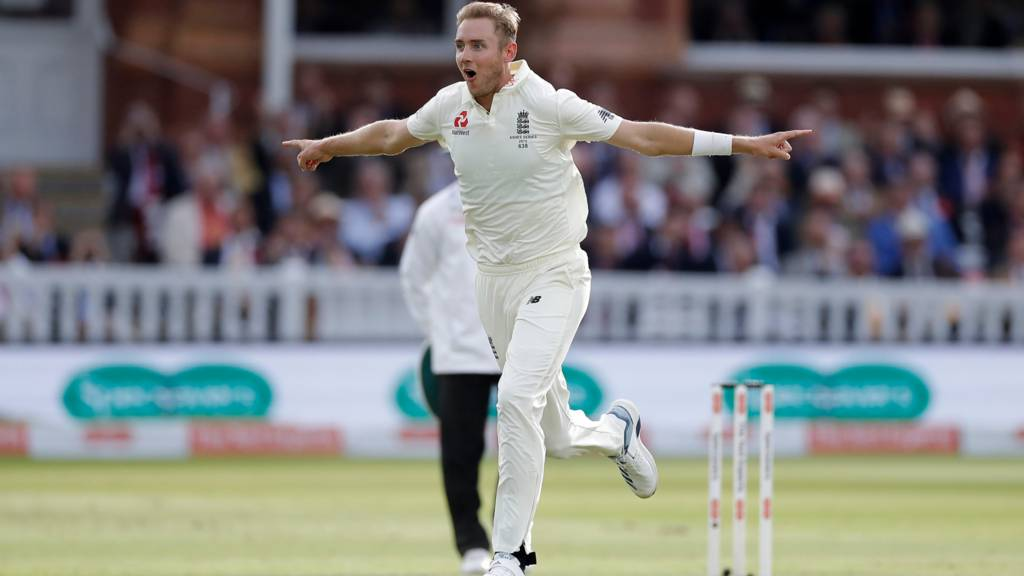 Stuart Broad celebrates dismissing David Warner