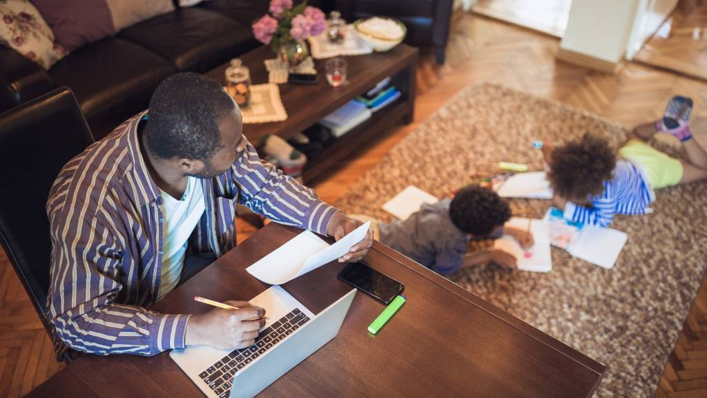 A father working at home