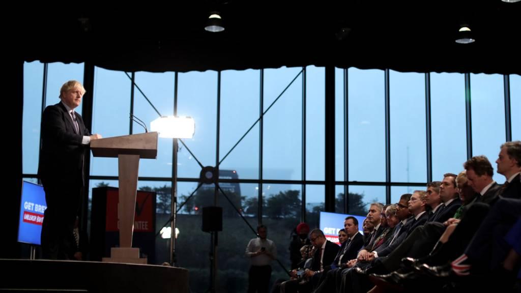 Boris Johnson at podium