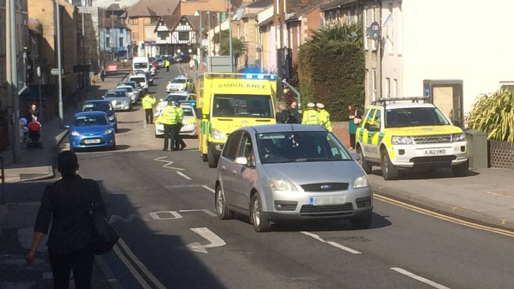 Ambulance on Woodbridge Road in Ipswich