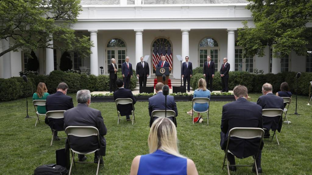 Donald Trump gives statement to press in Rose Garden (29 May)