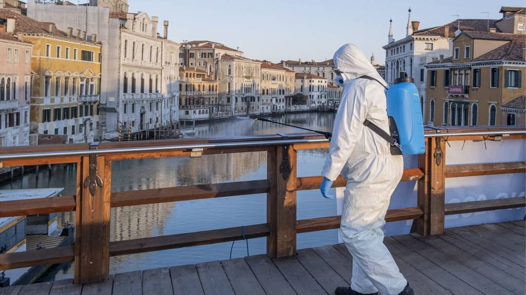 Ecological operator sanitizes Accademia Bridge on March 24, 2020 in Venice, Italy. The Italian government continues to enforce the nationwide lockdown measures to control the spread of COVID-19