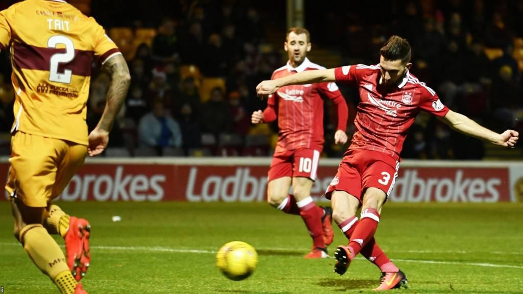 Graeme Shinnie scores for Aberdeen against Motherwell