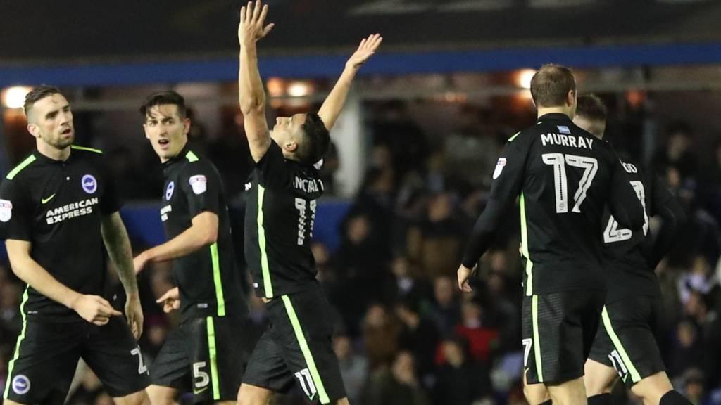 Anthony Knockaert celebrates goal against Birmingham City