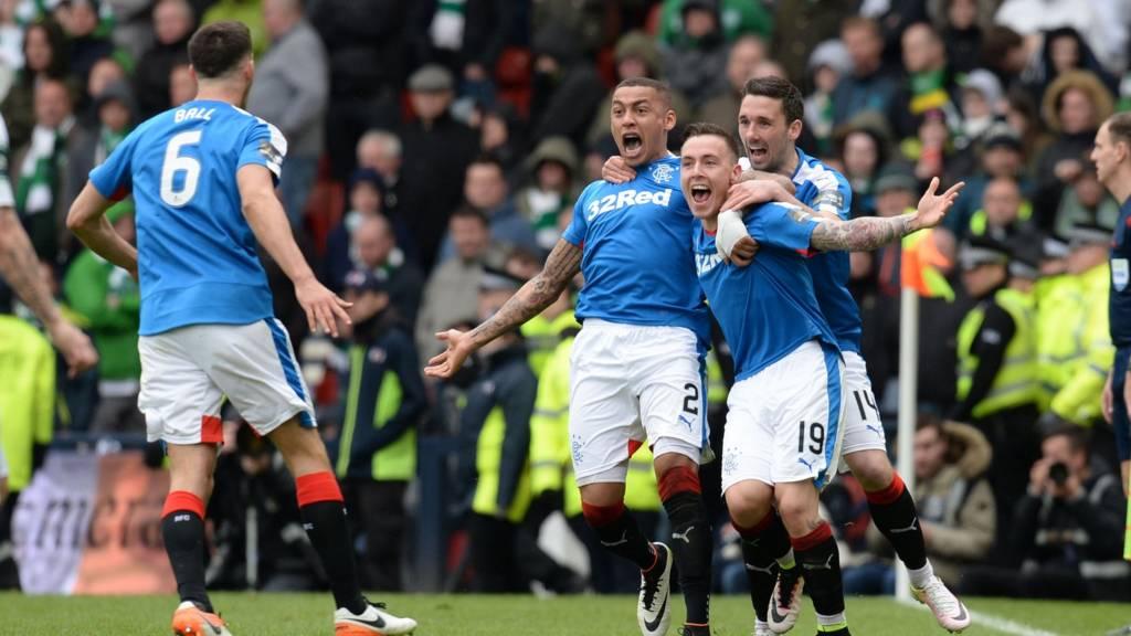 Rangers celebrate Barrie McKay's strike