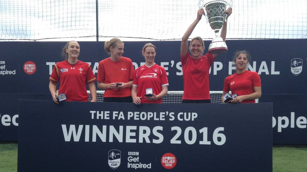 A-Town ladies celebrate winning the Adult Women's category of the FA People's Cup