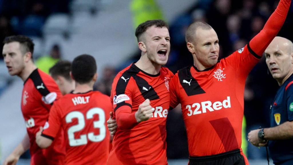 Andy Halliday celebrates with Rangers scorer Kenny Miller