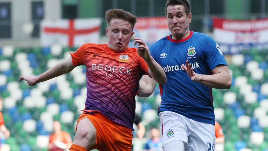 Action from Linfield against Glenavon