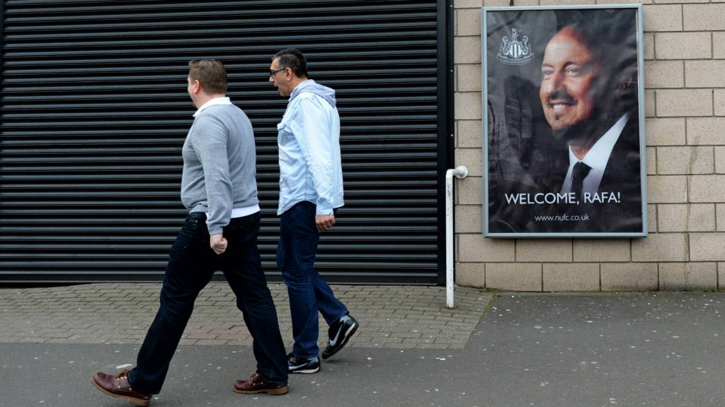 A poster of Rafa Benitez outside St James' Park