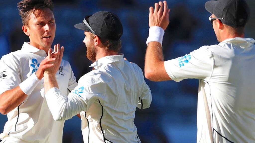 Trent Boult celebrates a wicket