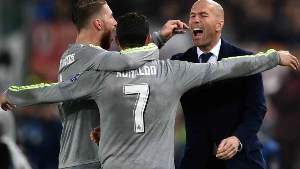 Real Madrid striker Cristiano Ronaldo and manager Zinedine Zidane
