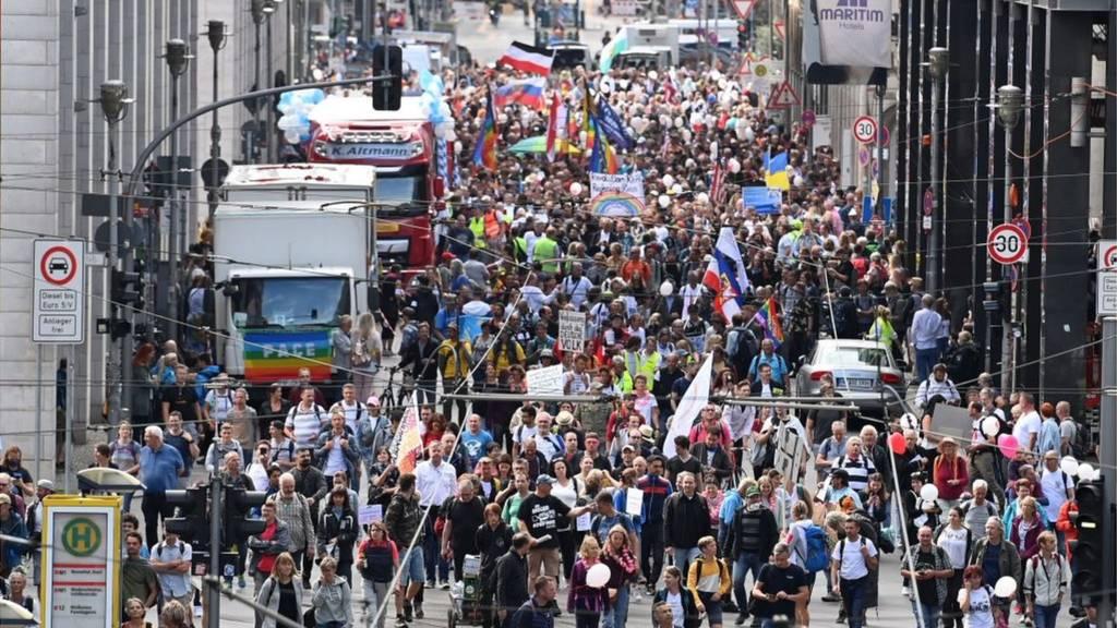 Berlin demonstration against coronavirus restrictions, 29 August