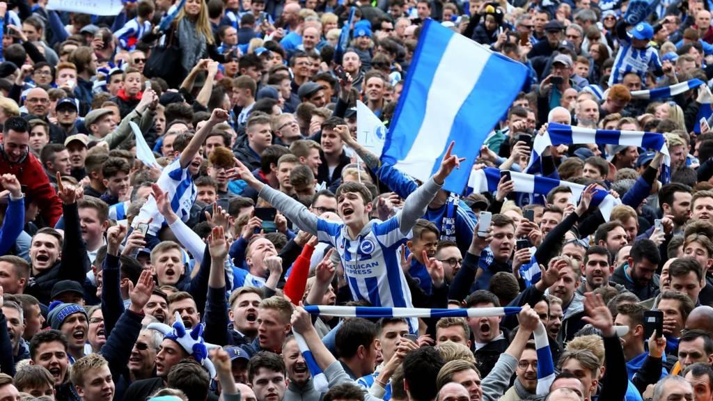 Brighton fans celebrate