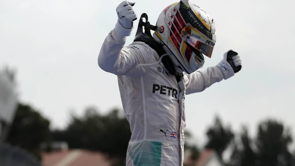Lewis Hamilton celebrating
