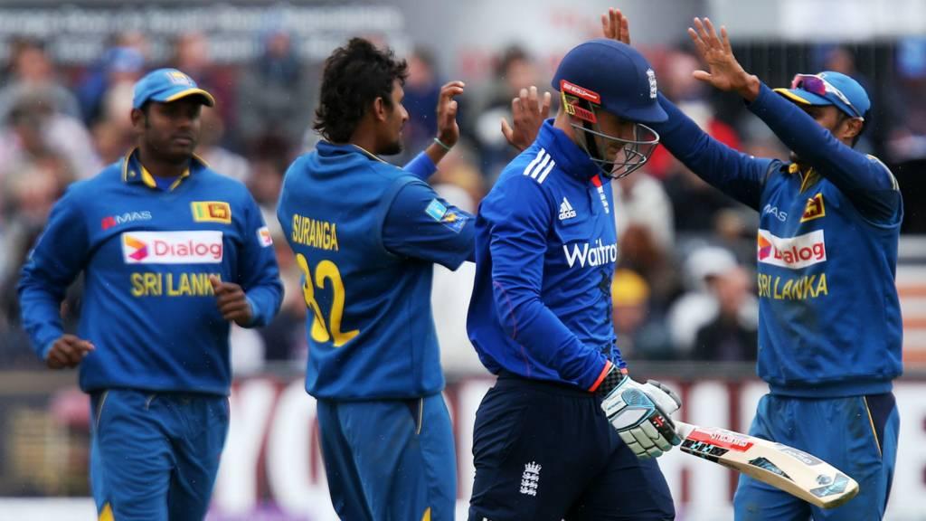 Alex Hales walks off after losing his wicket
