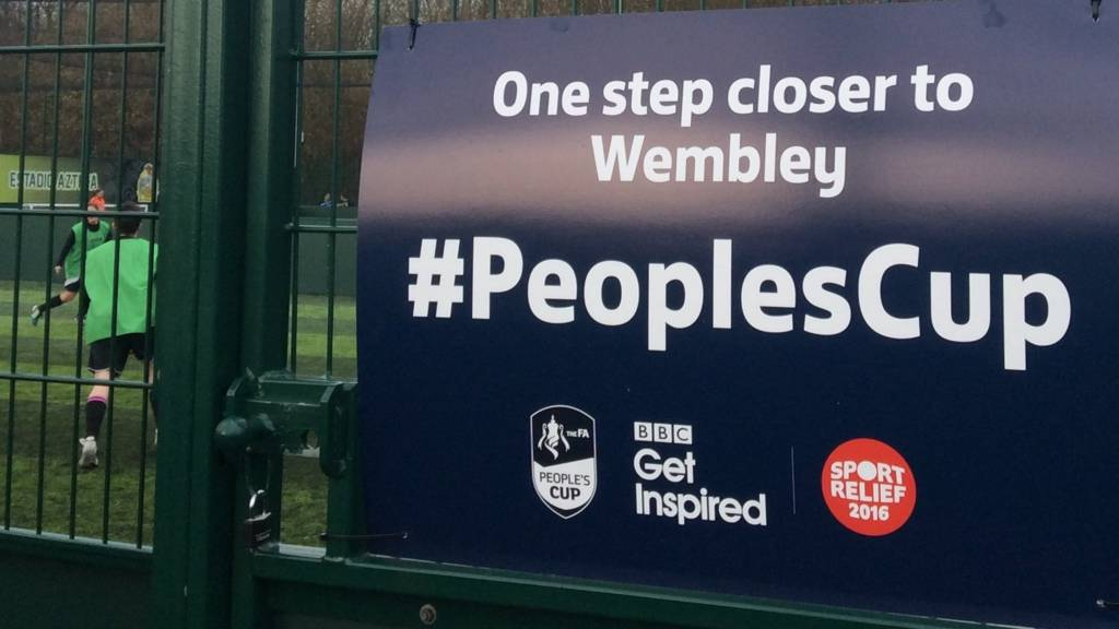 FA People's Cup branding outside a 5-a-side pitch