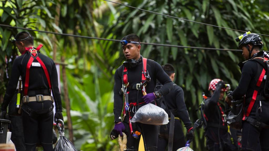 Rescue divers at the Chiang Mai cave