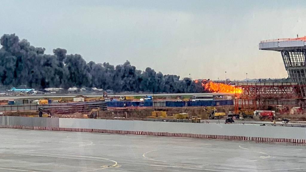 Горящий самолет в Шереметьево