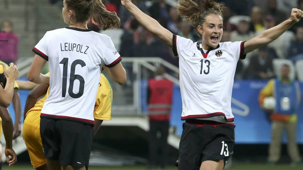 Germany's Sara Daebritz celebrates a goal