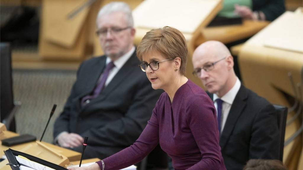 Scottish First Minister Nicola Sturgeon holds First Minister