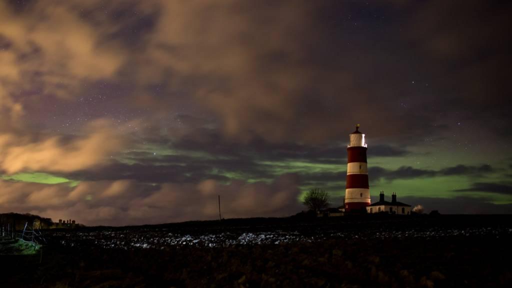 Aurora over Happisburgh lighthouse