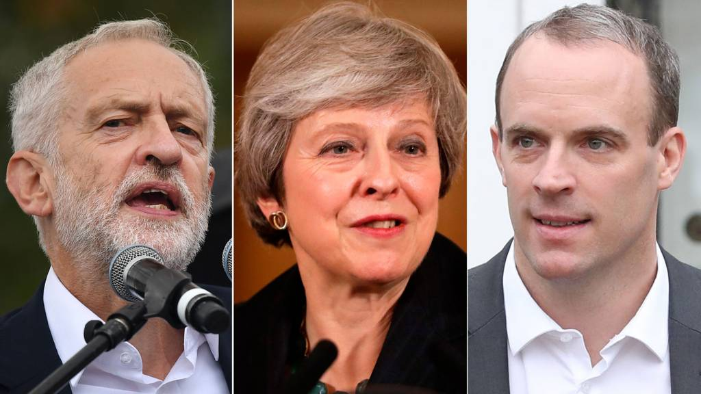 Jeremy Corbyn, Theresa May and Dominic Raab