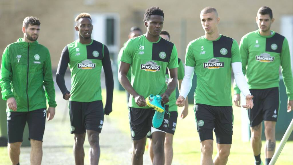 Celtic players arrive for training