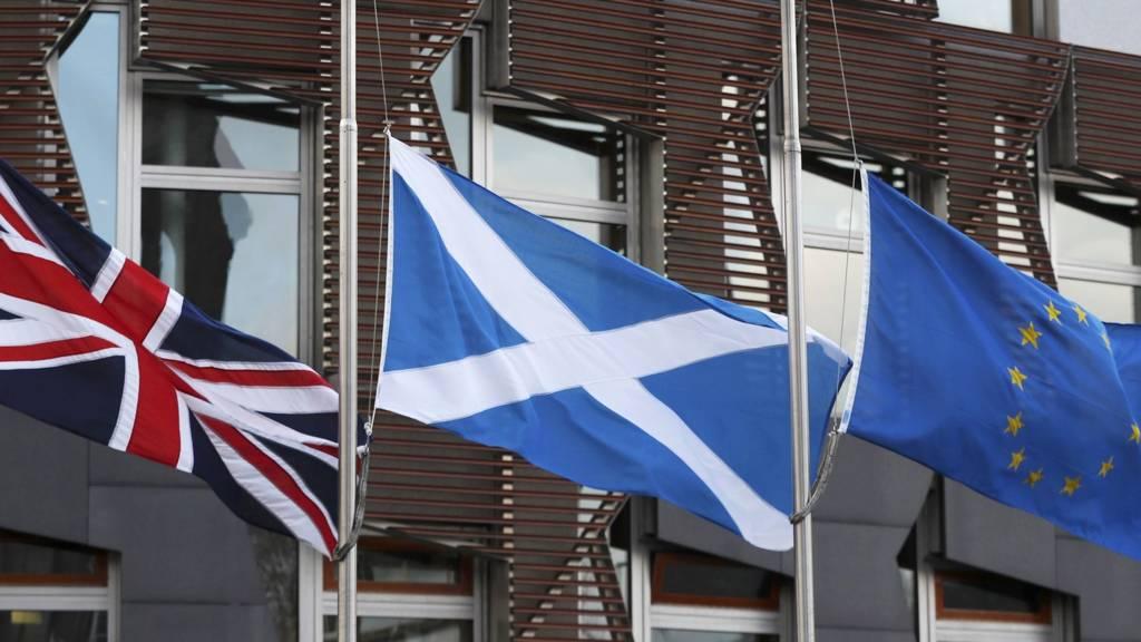 UK, Scottish and EU flags