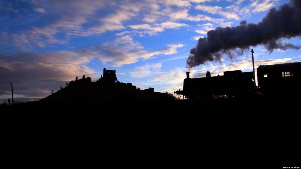 Swanage Railway steam train at Corfe Castle