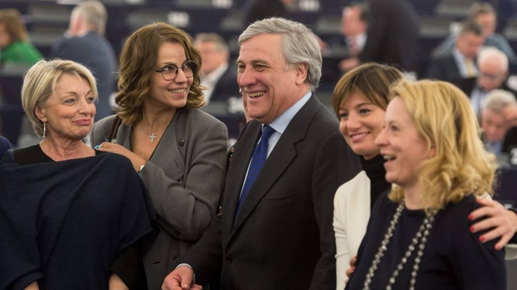 Antonio Tajani after becoming the new European Parilament president