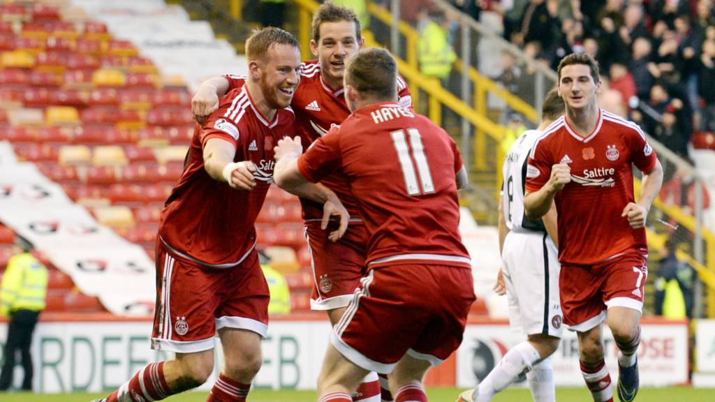 The Aberdeen players rush to congratulate Adam Rooney on his goal