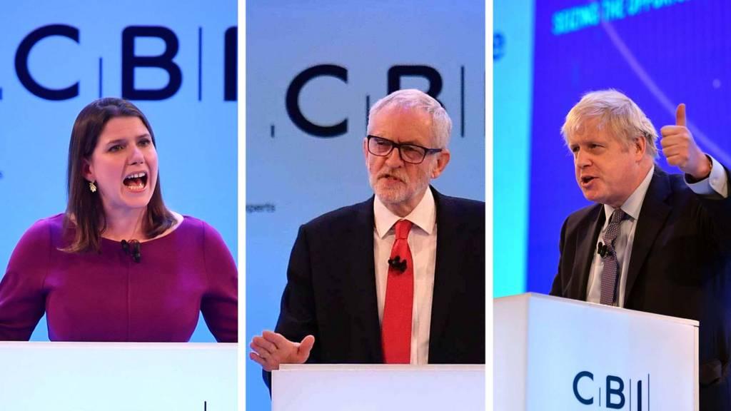 Jo Swinson, Jeremy Corbyn and Boris Johnson