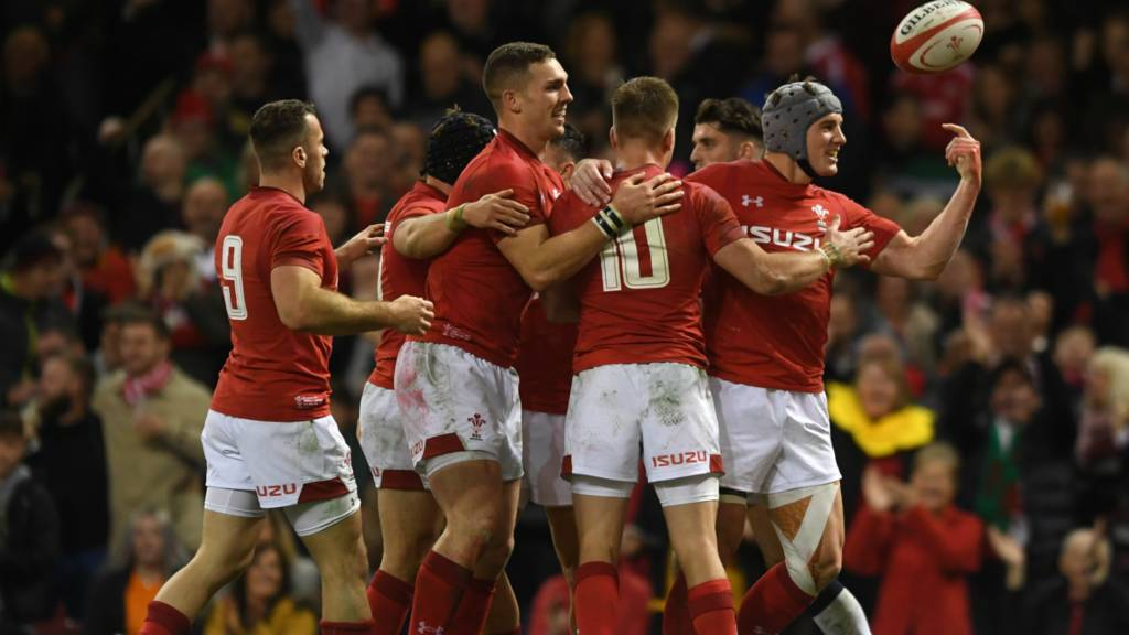 Wales celebrate try