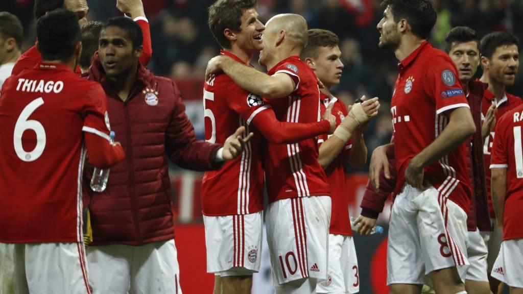 Bayern Munich celebrate at full time