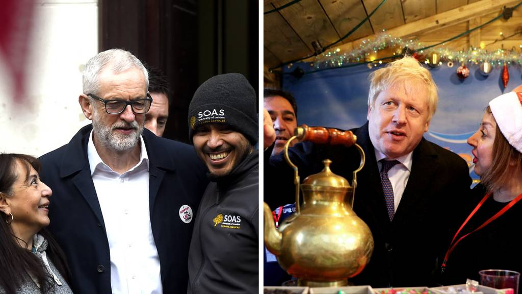 Jeremy Corbyn and Boris Johnson on the campaign trail on 3rd December.