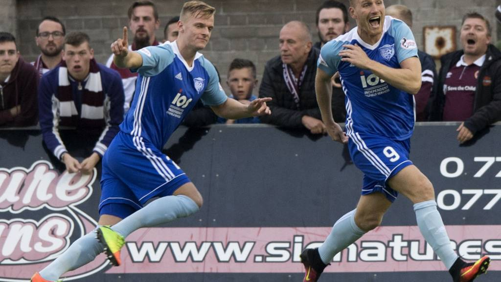 Peterhead's Jason Brown (left) celebrates his goal with Rory McAllister