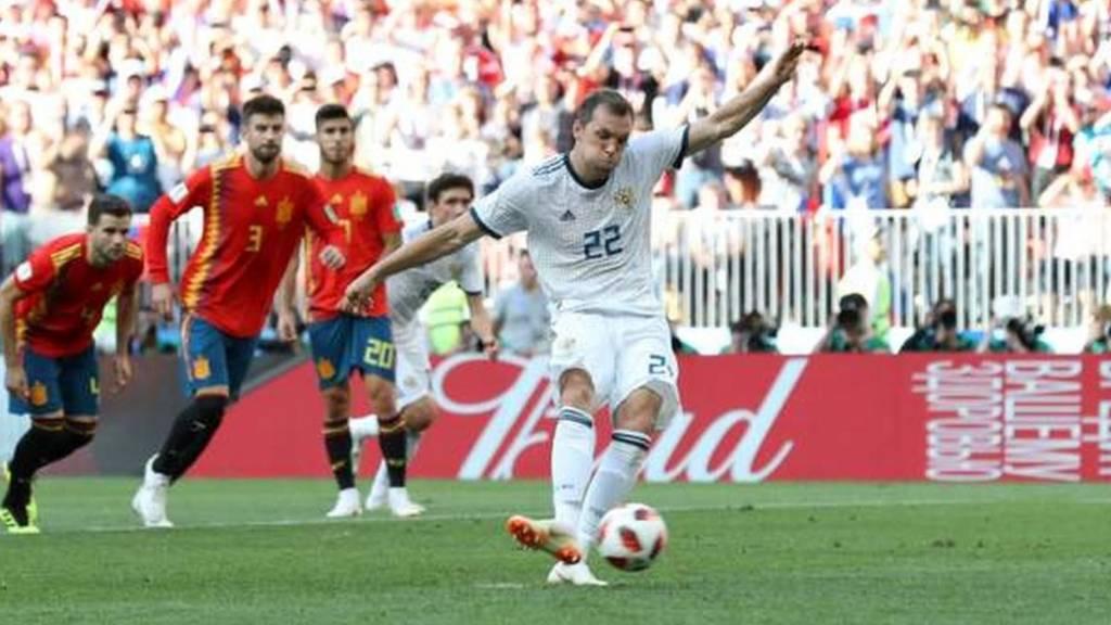 Artem Dzyuba akifunga penalti ya Urusi
