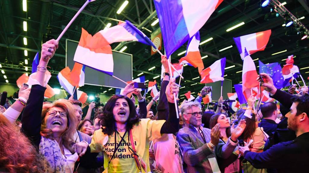 Macron supporters celebrating