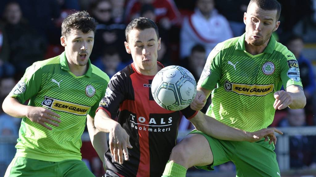 Action from Crusaders against Cliftonville
