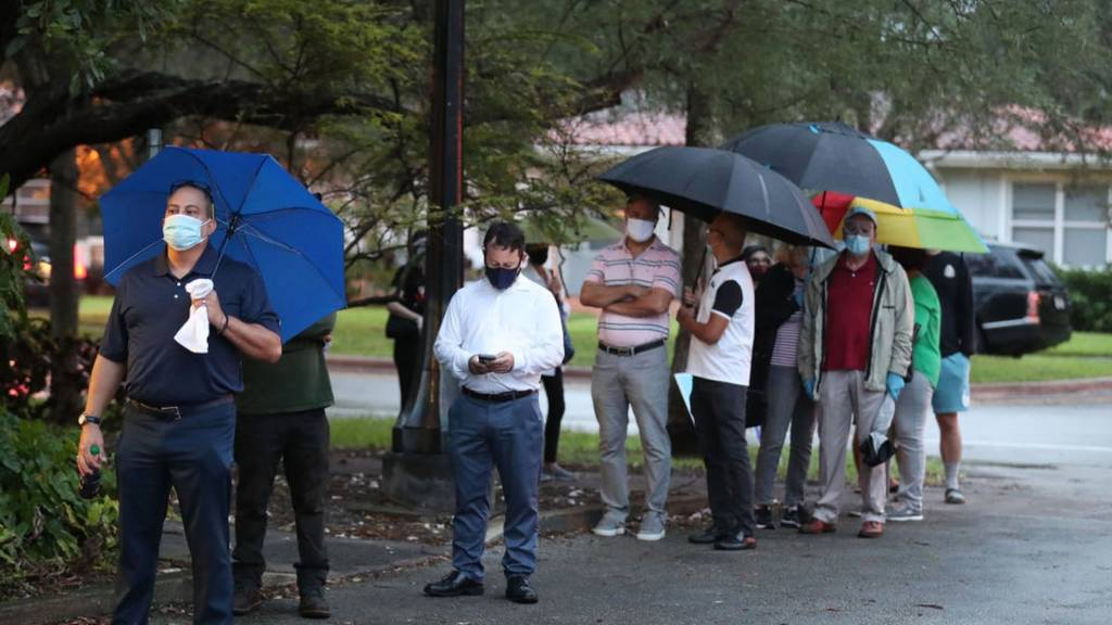 People in Florida queue in the rain to vote