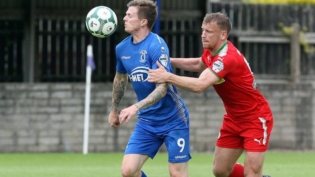 Action from Dungannon against Cliftonville