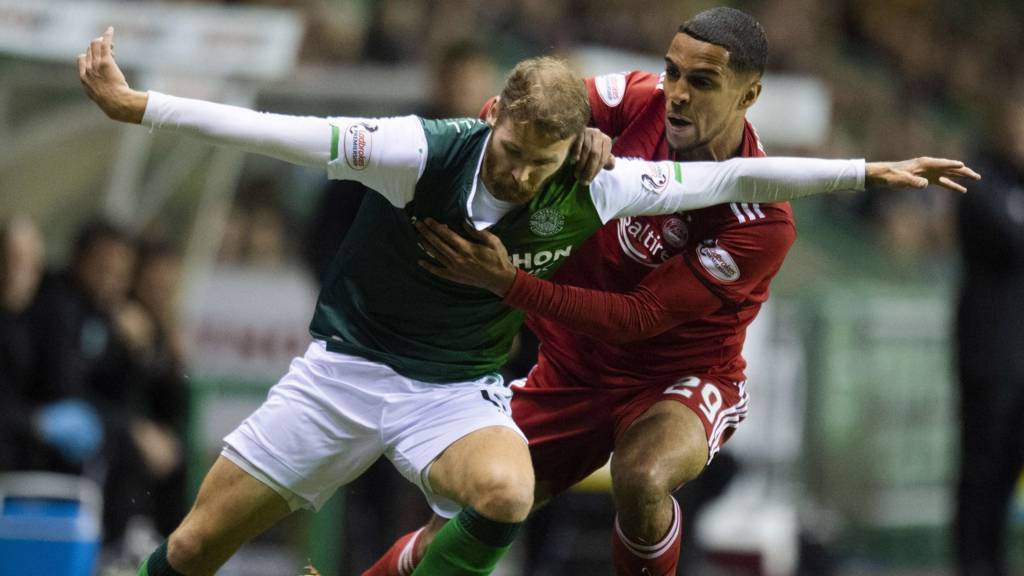 Hibs' Martin Boyle and Aberdeen's Max Lowe
