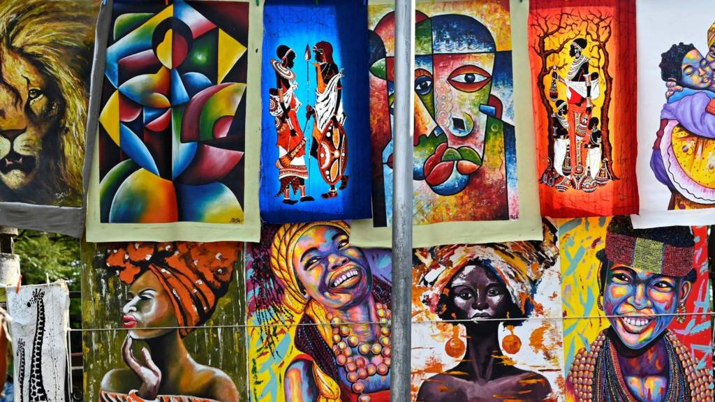 Paintings at a market